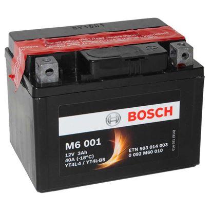 Immagine di Batteria moto Bosch, M6004, ermetica, con acido a corredo e dispositivo per il riempimento, 12 V-4 Ah, polarità dx
