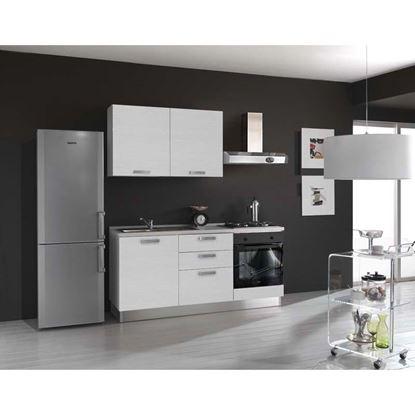 Immagine di Cucina serena H204xL180 cm cassa nobilitato bianco no frigo top h 4 cm eldo bis beko con forno statico white larix, sx