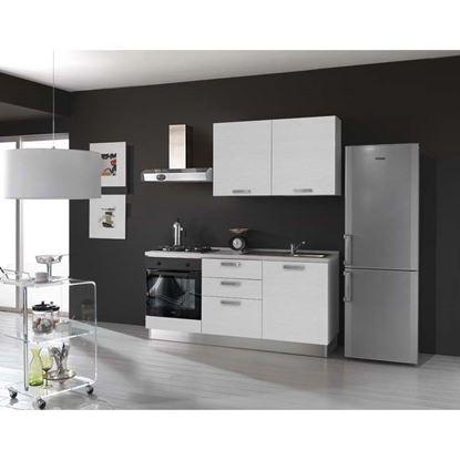 Immagine di Cucina serena H204xL180 cm cassa nobilitato bianco no frigo top h 4 cm eldo bis beko con forno statico white larix, dx