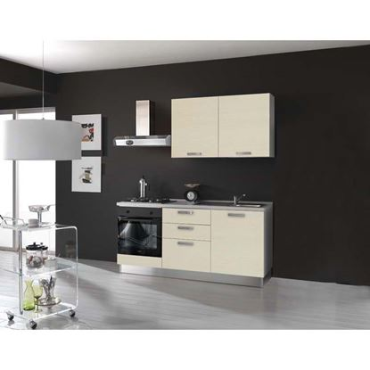 Immagine di Cucina Serena H204xL180 cm cassa nobilitato bianco no frigo top h 4 cm eldo bis  Beko con forno statico  larice crema dx