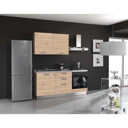 Immagine di Cucina Serena H204xL180 cm cassa frontali rovere  no frigo top h 4 cm eldo bis  Beko con forno statico rovere crudo sx