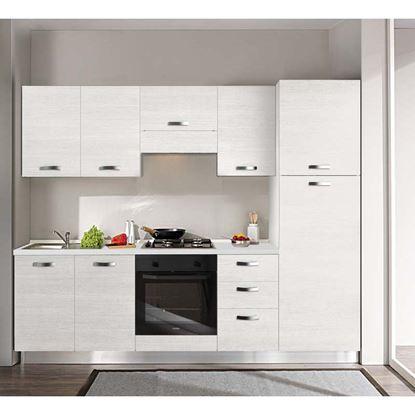 Immagine di Cucina Manuela H204xL255 cm cassa bianco e frontali white top h 4 cm  Eldo tris Beko  con forno statico white larix sx