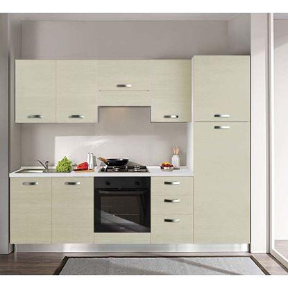 Immagine di Cucina Manuela H204xL255 cm  top h 4 cm Eldo tris Beko con forno statico larice crema dx