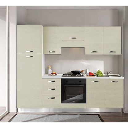 Immagine di Cucina Manuela H204xL255 cm  top h 4 cm Eldo tris Beko con forno statico larice crema sx