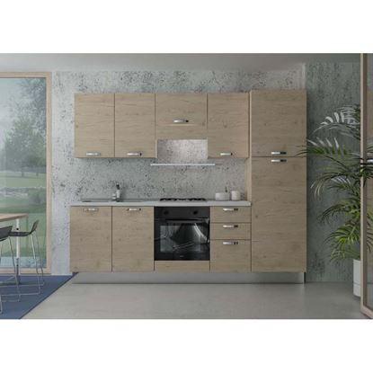 Immagine di Cucina Manuela H204xL255 cm cassa e frontali rovere crudo top h 4 cm Eldo tris Beko  con forno statico rovere crudo sx