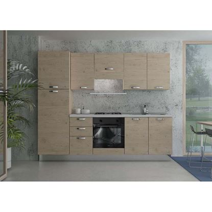 Immagine di Cucina Manuela H204xL255 cm cassa e frontali rovere crudo top h 4 cm Eldo tris Beko  con forno statico rovere crudo dx