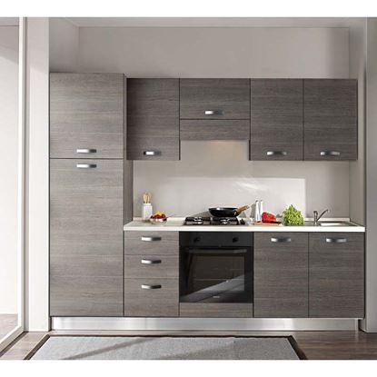 Immagine di Cucina Manuela H204xL255 cm cassa e frontali larice grigio top h 4 cm  Eldo tris Beko con forno statico larice grigio sx