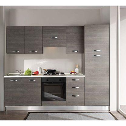 Immagine di Cucina Manuela H204xL255 cm cassa e frontali larice grigio top h 4 cm  Eldo tris Beko con forno statico larice grigio dx