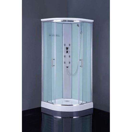 Immagine di Cabina doccia idromassaggio Orsola 90x90xH215 cm, 6 getti, con soffione centrale, saliscendi, cristallo 4 mm
