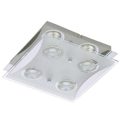 Immagine di Plafoniera a Led FLASH 2, 4x3W, GU10, vetro trasparente con inserti satinati, 25x25 cm