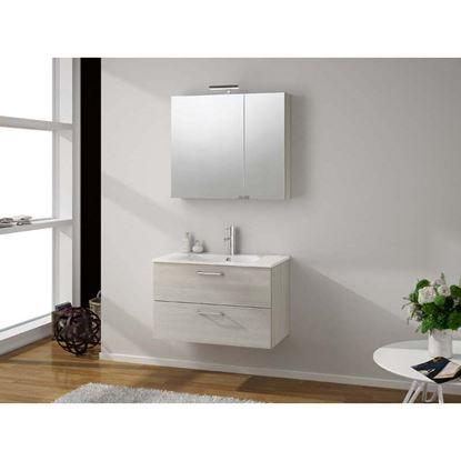Immagine di Base sospesa Noa, con lavabo in ceramica, 2 cassettoni, 80x46xh50 cm, colore larice