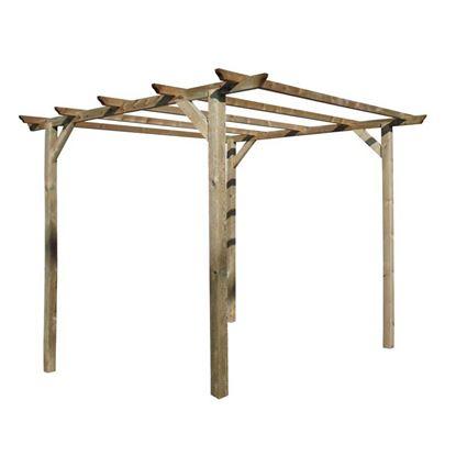 Immagine di Pergola 3x3 mt, in legno impregnato, pali 9x9 cm, ferramenta inclusa
