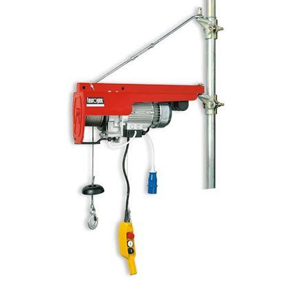Immagine di Elevatore 750 W, portata max 200 kg tiro singolo - 400 kg tiro doppio, fune Ø 4 mm, carico rottura fune 1600 kg