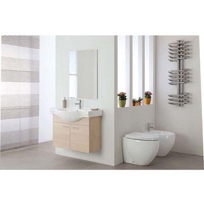 Immagine di Composizione bagno Luna sospeso 82,5 cm, con specchio, lavabo in ceramica, 2 ante, colore larice