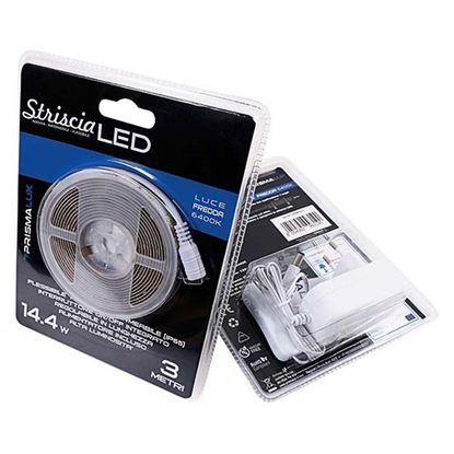 Immagine di Strip LED adesiva 14,4W, alta luminosità, IP65, flessibile, 3 metri, luce fredda