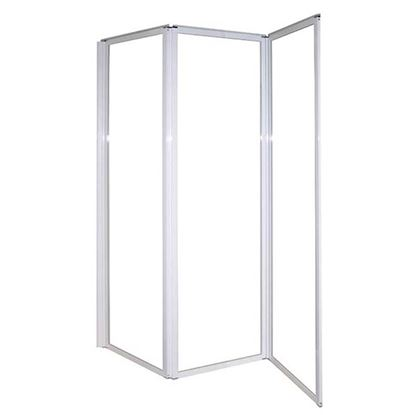Immagine di Parete vasca pieghevole 3 ante, profilo bianco, vetro stampato, 4 mm, 140xh130 cm