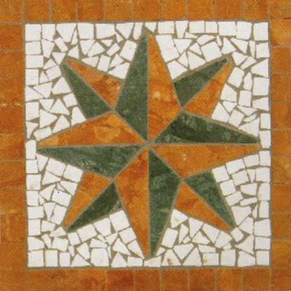Immagine di Rosone stella disegno Elba, prima scelta, marmo rosso verona, verde alpi, bianco, spessore 7 mm, 33x33 cm, idrogetto