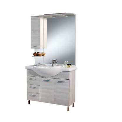 Immagine di Composizione londra 105 cm, dx, specchio con illuminazione a led, 105x50xh195,5 cm, colore larice