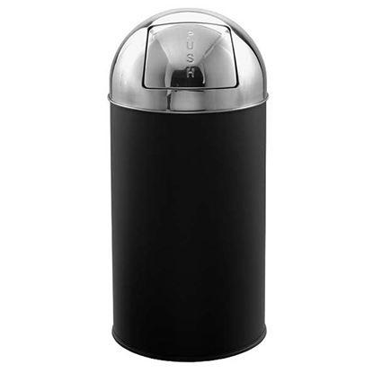 Immagine di Gettacarte Apollino push, sportello push, secchio interno con maniglia, 40 LT, con testa inox, nero