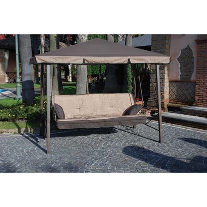 Immagine di Dondolo Pagoda 3 posti, struttura in tubolare di ferro, colore marrone,  colore ecrù, 247x138x201 cm