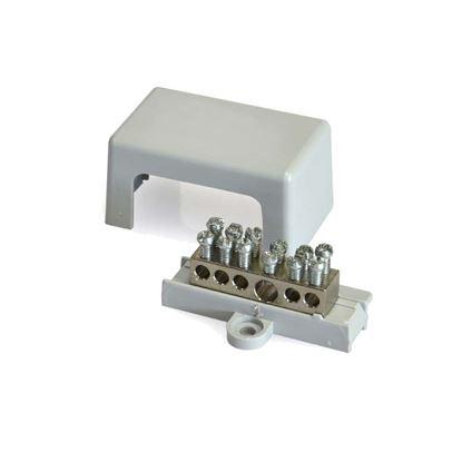 Immagine di Morsettiere equipotenziale ottone nichel 6 fori 25 mmq