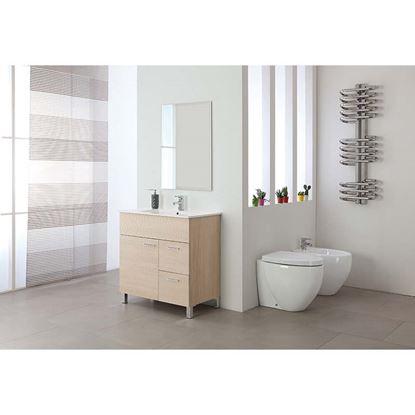 Immagine di Composizione bagno Stella 80, 1 anta, 2 cassetti, lavabo in ceramica,  specchio bisellato 60x80 cm,  81x46,5xh84 cm, colore larice