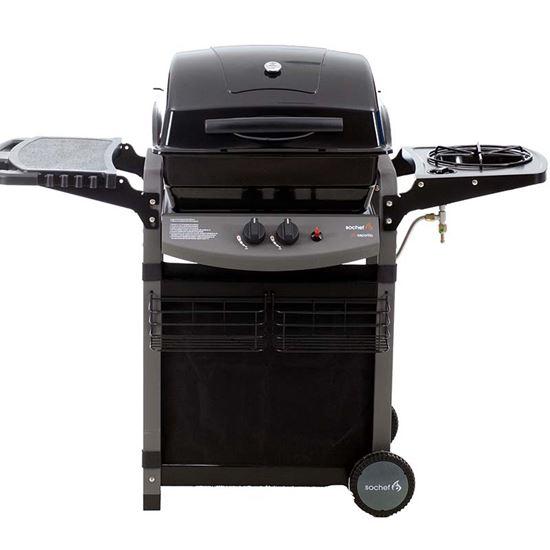 Immagine di Barbecue Più Saporillo a gas 2 fuochi + fornello laterale, cottura su pietra lavica, area di cottura 50x35 cm