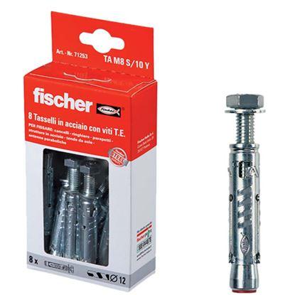 Immagine di Tasselli acciaio fischer tam 6 s/10y ø 10 mm 8 pezzi con vite