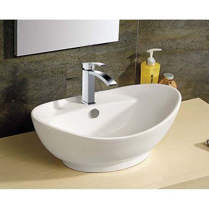 Immagine di Lavabo appoggio ovale, in ceramica, con foro per miscelatore, 59x39x21 cm