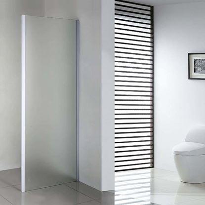 Immagine di Lato fisso per porte, profilo bianco, cristallo piumato, spessore 6 mm, 90x195 cm