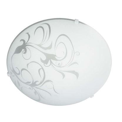 Immagine di Lampada Fay, da soffitto, 30 cm, 60W, vetro bianco, decoro floreale