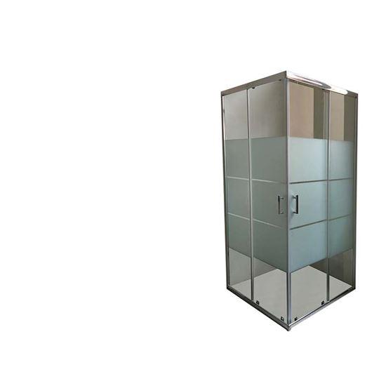 Immagine di Box doccia, profilo cromo, cristallo satinato 6 mm, maniglia in acciaio, ante sganciabili, 66,5/69x86,5/89xh190 cm