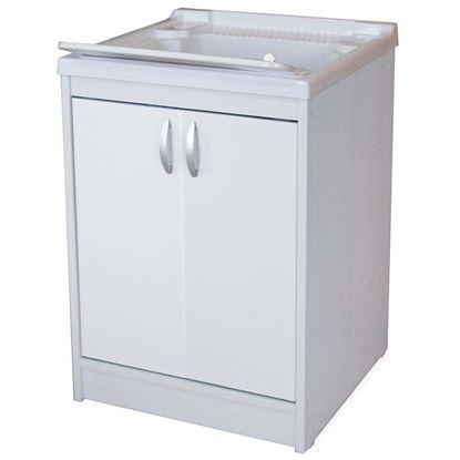 Immagine di Mobile lavapanni 1 anta, 45x50x84 cm, con asse in plastica e kit sifone incluso, struttura in pvc estruso, piedino regolabile e maniglia abs, cromo, porta e frontale bianchi a filo