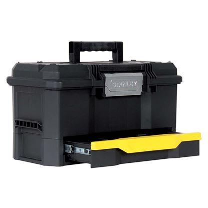 "Immagine di Cassetta Stanley One Touch, portautensili 19"", sistema apertura ad una mano, vaschetta,  48,1x27,9x28,7 cm"