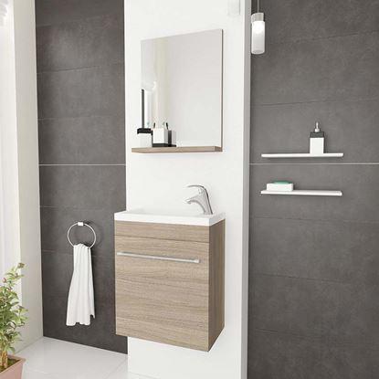 Immagine di Mobile bagno salvaspazio sospeso Perla, 41,5x22,5x106,5 cm, 1 anta lavabo in cer, specchio rovere fumo