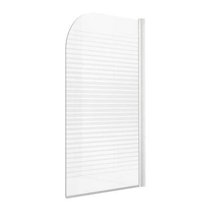 Immagine di Parete vasca Gala, profilo alluminio bianco, cristallo temperato 4 mm, con serigrafia, 140x75 cm