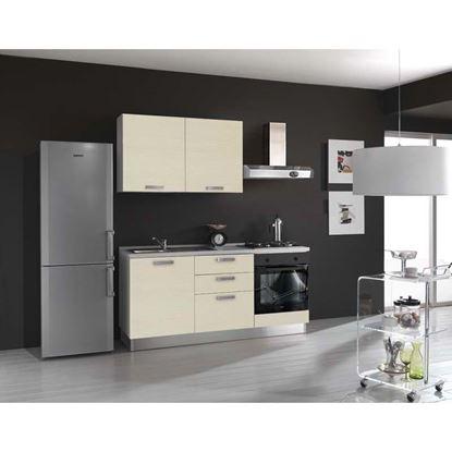 Immagine di Cucina Serena H204xL180 cm cassa nobilitato bianco no frigo top h 4 cm eldo bis  Beko con forno statico  larice crema sx
