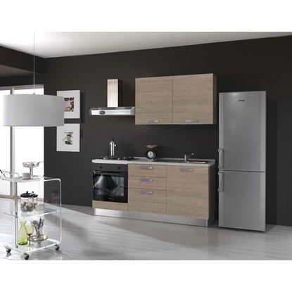 Immagine di Cucina Serena H204xL180 cm larice grigio no frigo top h 4 cm Eldo bis  Beko con forno statico larice grigio dx
