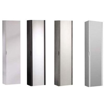 Immagine di Colonna sospesa,  in mdf, 1 ante con specchio, maniglia fresata, soft close, finitura pvc, 35x20xh140 cm bianco